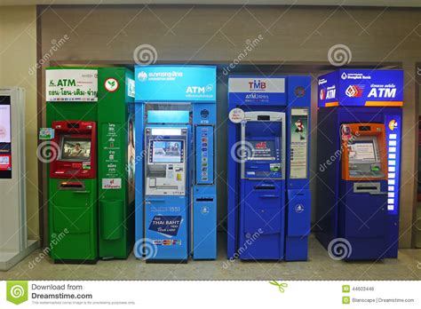 bangkok bank atm atm units by different thai banks editorial photo image