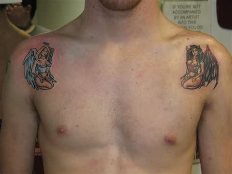 angel and devil on your shoulder tattoo angel and devil girls tattoo on shoulders