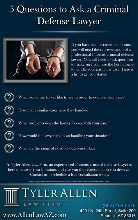 Or Question To Ask A 5 Questions To Ask A Criminal Defense Lawyer Infographic