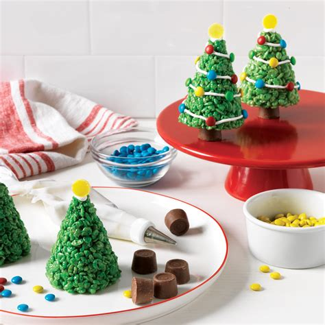 marshmallow krispie christmas trees recipe myrecipes
