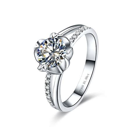 flower pattern engagement ring vintage 0 3 carat beauty flower shape sona synthetic