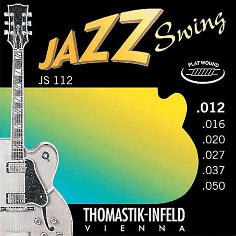 thomastik jazz swing thomastik js112 medium light flatwound jazz swing electric