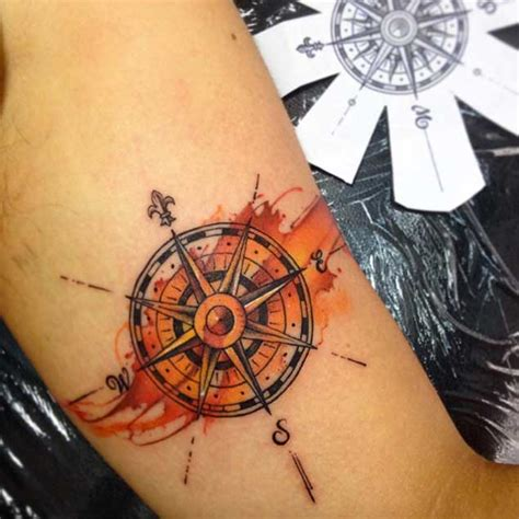 coloured compass tattoo colored compass tattoo on bicep