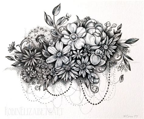 dotwork tattoo pen dotwork flower cloud pen and ink stippling drawing
