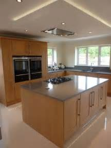 Kitchen Island Extractor Hoods by Suspended Ceiling With Lights And Flat Extractor Hood Over