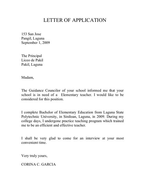 sle application letter for teachers transfer of school