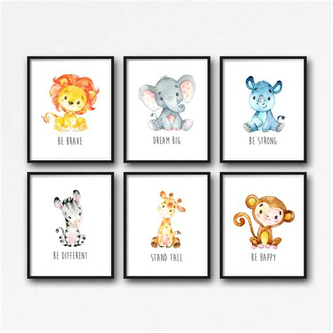 Animals Printable Nursery Art Jungle Animals Nursery Decor Animal Nursery Decor