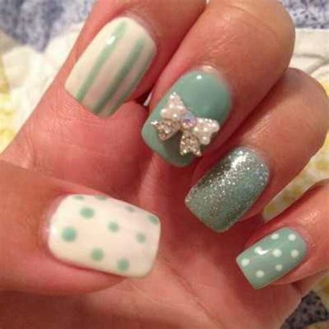 3d nail white 3d bow on teal nails 3d nail