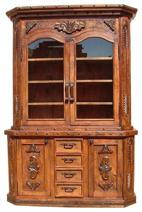 kitchen china cabinet hutch mesquite conchas carved kitchen hutch traditional