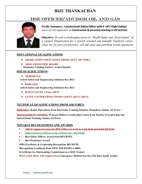 Safety Officer Resume India Contemporary Resume