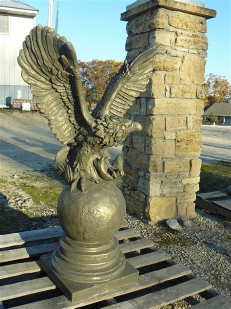 concrete statues eagle on globe concrete statue