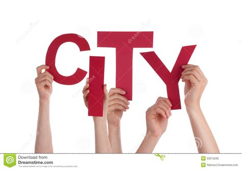 Character Building Letter many holding word city stock photo