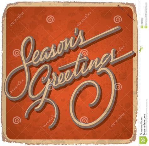 Handmade Lettering - seasons greetings vintage card vector stock vector