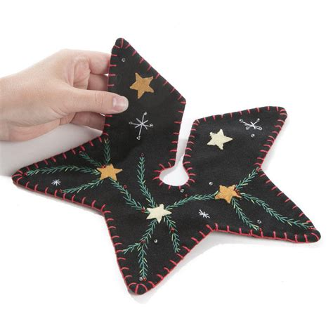 small christmas pine and star embroidered tree skirt