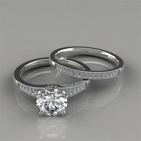 engagement and wedding band graduated milgrain engagement ring and wedding band set