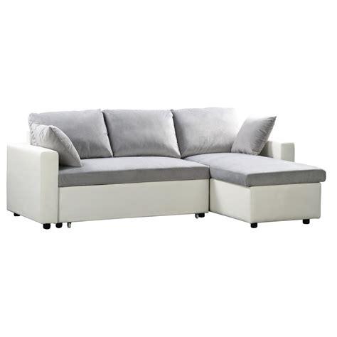 White Corner Sofa Bed Reversible Corner Sofa Bed White Pu Microlfiber Grey