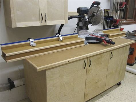 chop saw bench designs mitre saw station w planer garage workshop miter saw