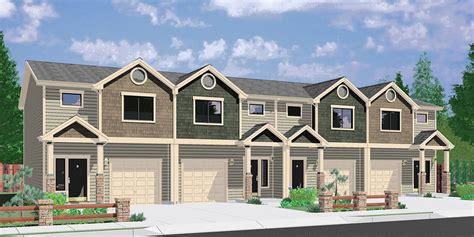 Narrow Lot 2 Story House Plans by Town House And Condo Plans Multi Family And Townhome