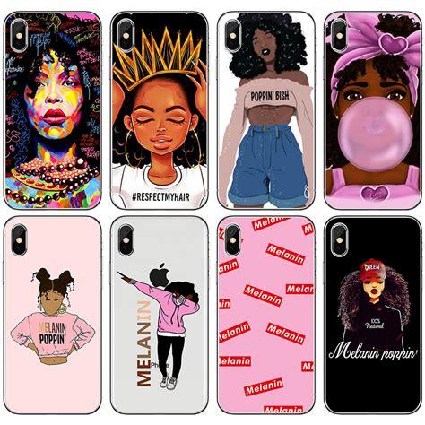 melanin poppin black girl queen art phone case  iphone      se  magic rock soft