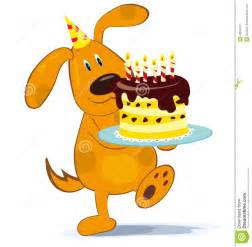 Cartoon character isolated on white background dog with birthday cake
