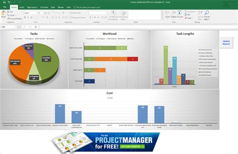 simple excel dashboard templates guide to excel project management projectmanager