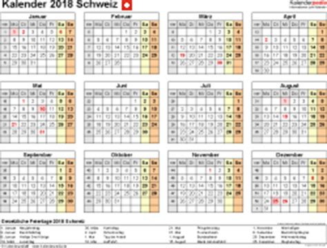 Kalender 2018 Schweiz Querformat In Farbe Kalender 2018 Schweiz In Excel Zum Ausdrucken