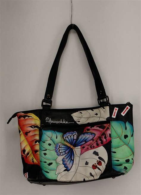 painted leather handbags anuschka sz large painted leather tote bag satchel handbag black ebay