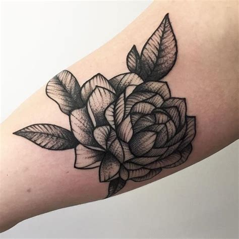 dark rose tattoo designs black by vincent