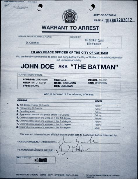 Search For Arrest Warrants Batman Viral Marketing Rises With Wanted Poster Real