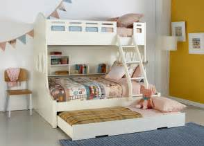 Childrens Bedroom Decor Australia White Snow Bunk Bed With Trundle And Built In Shelving Pastel Coloured Patterned Linen And