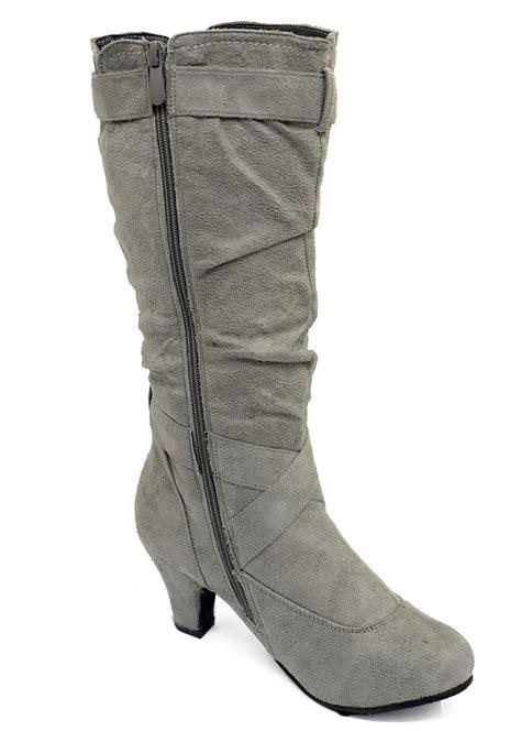 grey biker boots ladies ladies grey zip up biker slouch ruched tall knee calf low