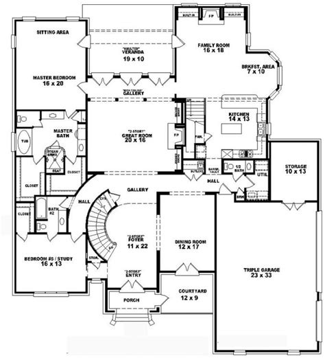 653749 Two Story 4 Bedroom 5 5 Bath French Style House Plan House Plans Floor