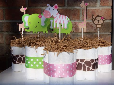 Diaper Cakes Jungle Jill Themed Set Of 6 By Judebugsbabysweets Safari Baby Shower Centerpiece Ideas