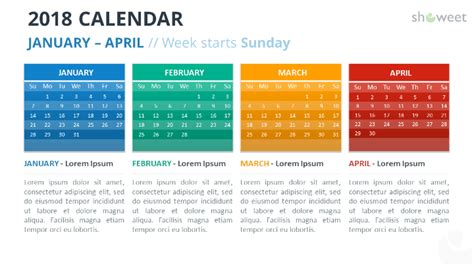 2018 Calendar Powerpoint Templates Calendar Template For Powerpoint