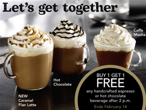 Handcrafted Espresso Drinks Starbucks - starbucks buy 1 get 1 free handcrafted espresso or