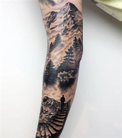 mountain tattoo sleeve sleeve tatting and