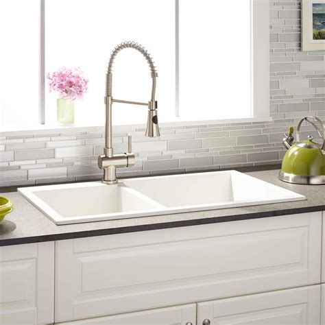 Sink White by 34 Quot Sabelle 60 40 Offset Bowl Drop In Granite