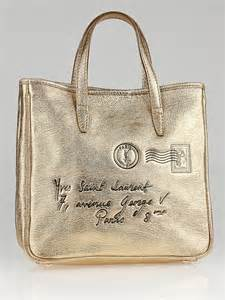 Yves Laurent Y Mail Tote Purses Designer Handbags And Reviews At The Purse Page by Yves Laurent Gold Metallic Leather Y Mail Small Tote
