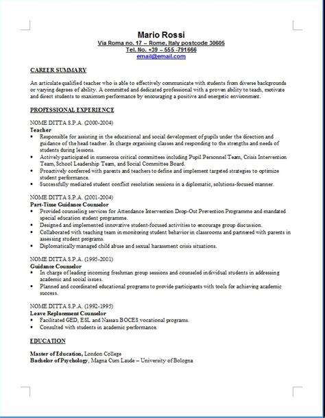 Formato Europeo Curriculum Vitae Spagnolo Curriculum Vitae Formato Europeo Compilato Insegnante