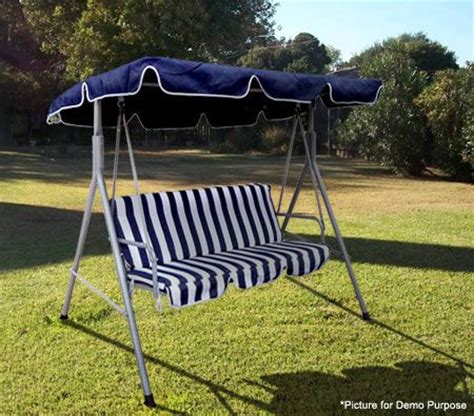 3 Seater Patio Swing Chair With Shade Blue White Crazy