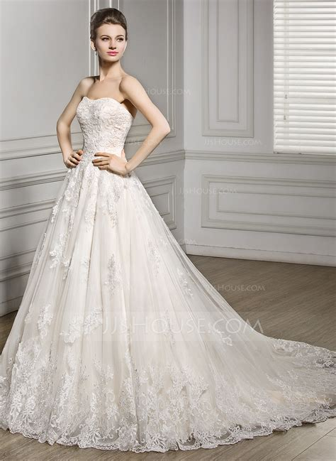 hochzeitskleid jjshouse ball gown sweetheart court train tulle lace wedding dress