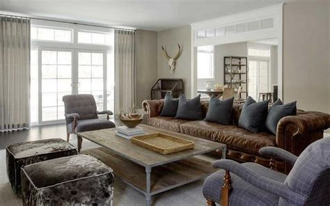 modern country living room features  long brown