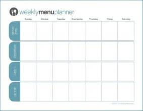 blank menu planner template weekday meal planner template new calendar template site