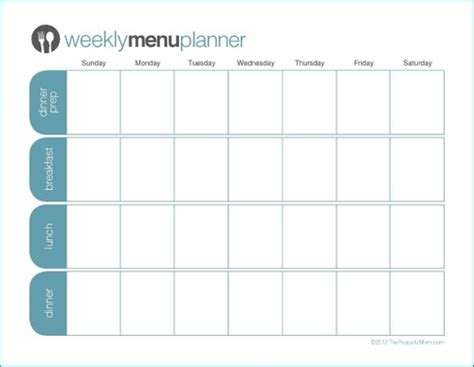 printable weekly menu planner template weekday meal planner template new calendar template site