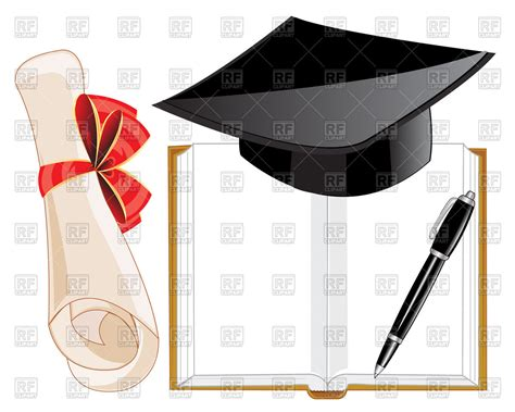 diploma clipart open book graduation hat and diploma free vector clip