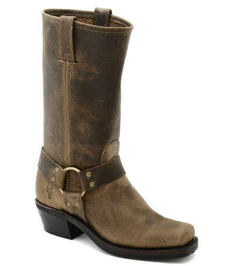 frye boots frye harness 12r leather square toe boots in brown lyst