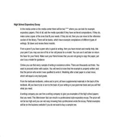 Expository Essay Sle For High School 6 expository essay exles sles
