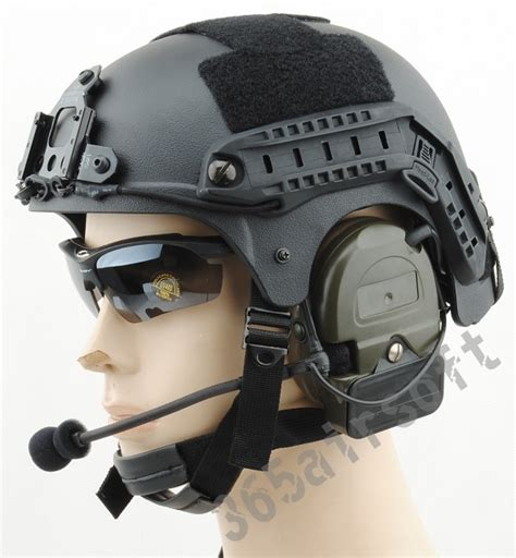 ibh helmet with mount and rail black hel0015 65 00 airsoft shop