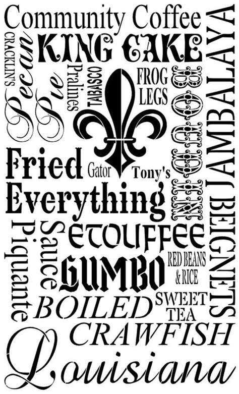 Louisiana Food Subway Art Stencil 12 x 20 by
