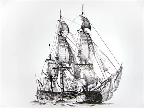 dessin bateau encre de chine illustration bateau 1